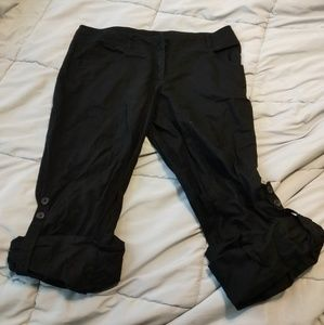 H&M black linen rolled bottom pants